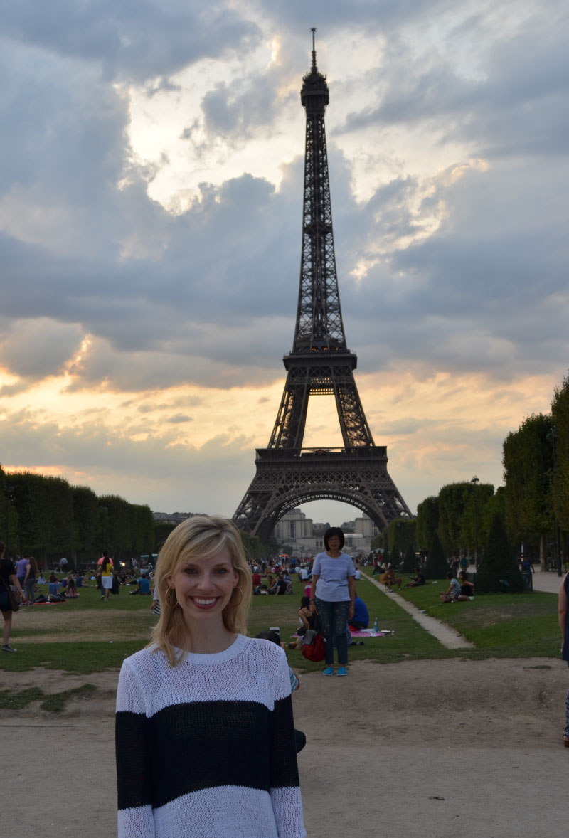 Katie at the Eiffel Tower in Paris, France