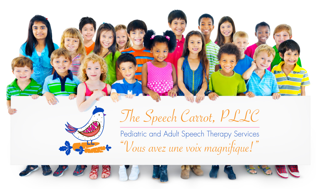 diverse children holding Speech Carrot sign