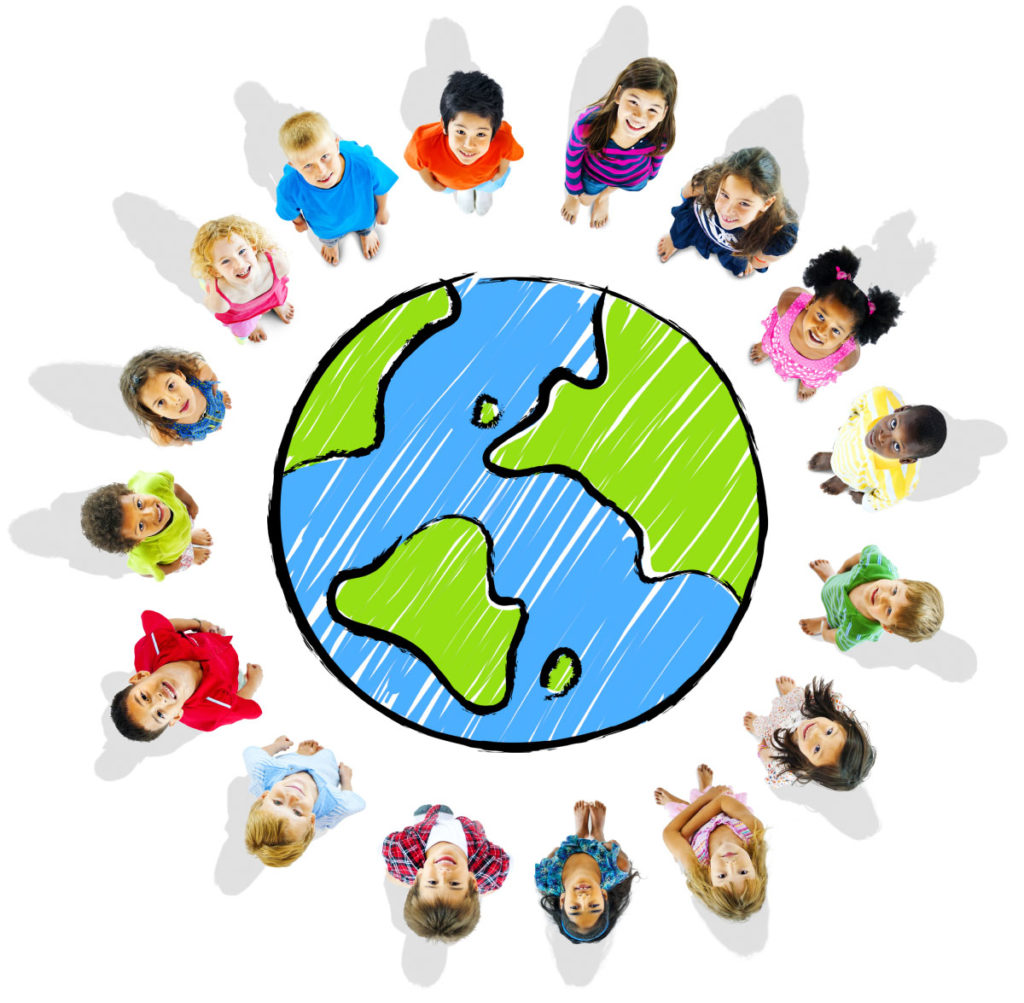 children around drawing of the Earth